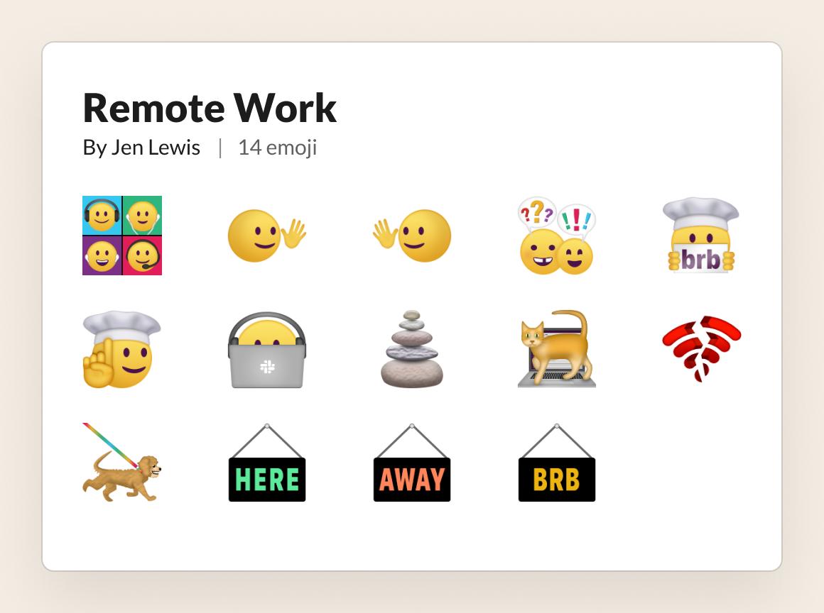 remote work slack emoji set emojik
